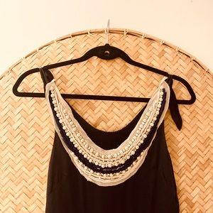 3.1 Philip Lim 100% Black silk dress w/ jewel bib